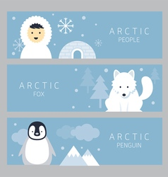 Arctic banner people fox and penguin vector