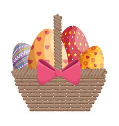 basket eggs easter vector image
