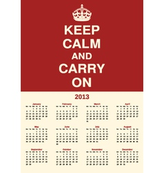 calendar 2013 keep calm vector image