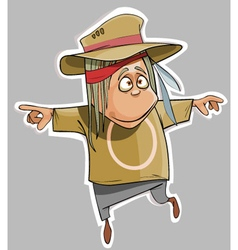cartoon funny man in the hat fun vector image vector image