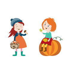 Children doing autumn activity set vector