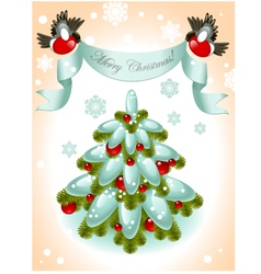 christmas tree with red ball vector image vector image