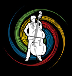 Double bass player a man play double bass vector