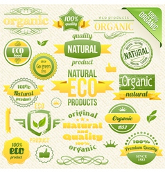 Eco bio labels and elements vector