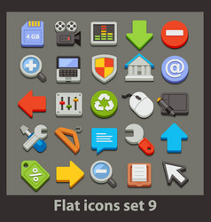 flat icon-set 9 vector image vector image