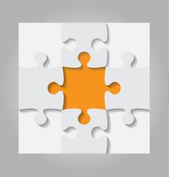 Grey orange puzzles pieces - jigsaw - vector