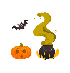 halloween pumpkin lantern bat and witch cauldron vector image vector image