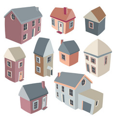 isometric houses vector image vector image