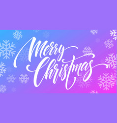 merry christmas handwriting script lettering on a vector image