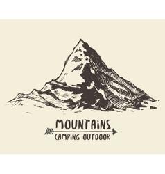 Mountains sketch contours engraving drawn vector