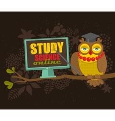 Professor owl on the tree teaching science online vector image