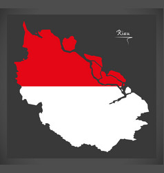 Riau indonesia map with indonesian national flag vector