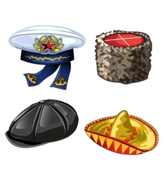 Set of different hats from cap to sombrero vector image vector image