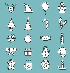 Set of flat outlined christmas icons variable line vector