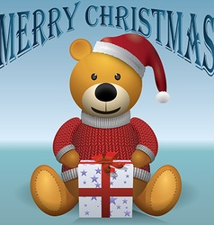 Teddy bear in red sweater red hat with present vector image vector image