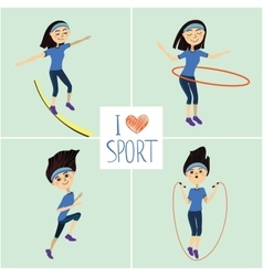 Training girl icons set I love sport vector image
