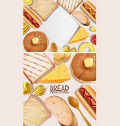 Two background design with bread vector