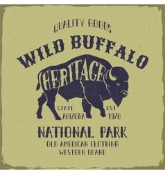 Wild buffalo typography design vector