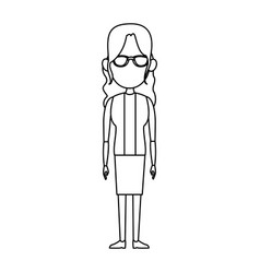 woman female standing character outline image vector image