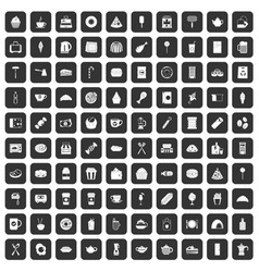 100 cafe icons set black vector