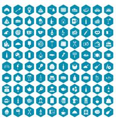100 restaurant icons sapphirine violet vector image vector image
