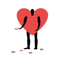 Love promoter Man in heart costume handing out vector image
