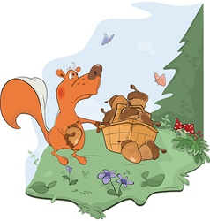 The squirrel and acorns vector