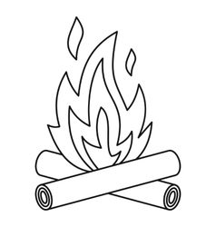 Bonfire icon outline style vector