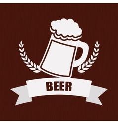 Beer mug glass wheat pub label vector