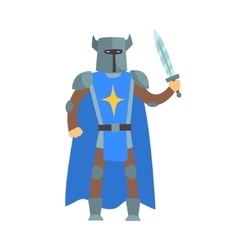Crusader knight in blue cape with sword and sword vector