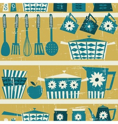 Vintage kitchen background vector