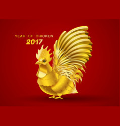 gold chicken vector image