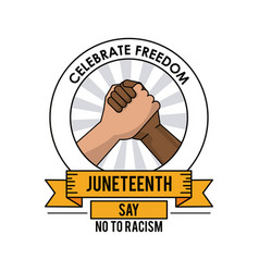 Juneteenth day celebrate freedom handshake no to vector