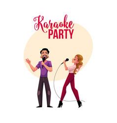 Karaoke party contest banner poster postcard vector