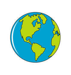 planet earth icon in cartoon style vector image