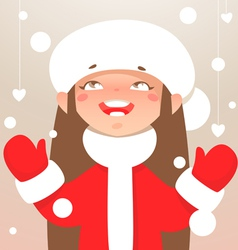 Winter happy girl vector