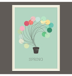 Colorful spring poster with magic plant vector