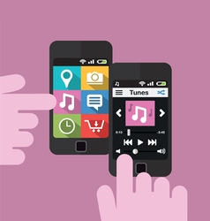 Smartphone with music player interface vector