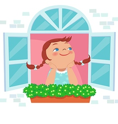 Little girl day dreaming at the window vector