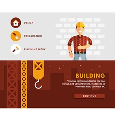 Profession concept builder and building flat vector