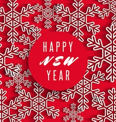 Happy new year text banner white snowflakes on red vector