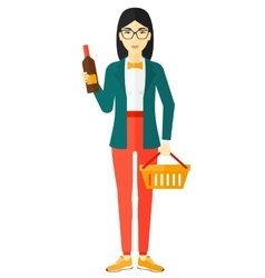 Customer with shopping basket and bottle of wine vector