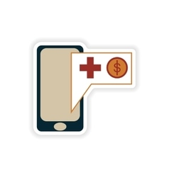 Stylish sticker on paper mobile applications and vector