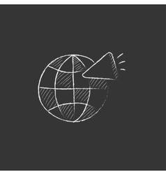 Globe with loudspeaker drawn in chalk icon vector
