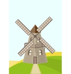 Old windmill in field vector