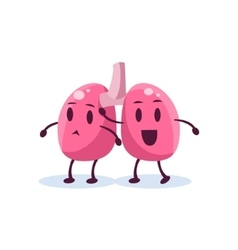Lungs primitive style cartoon character vector