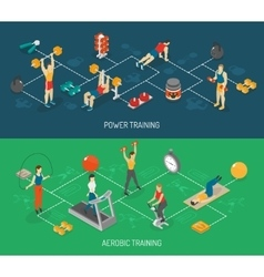 Cardio and strength training isometric banners vector