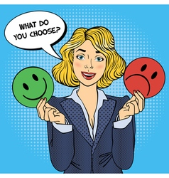 Woman holdings emoticons in her hands pop art vector