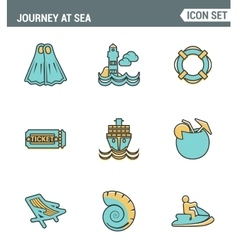 Icons line set premium quality of journey at sea vector