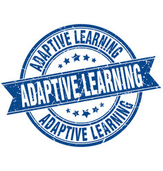 Adaptive learning round grunge ribbon stamp vector